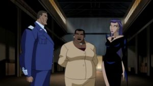 Amanda Waller flanked by Rick Flagg and The Sorceress, from the Justice League Unlimited cartoon